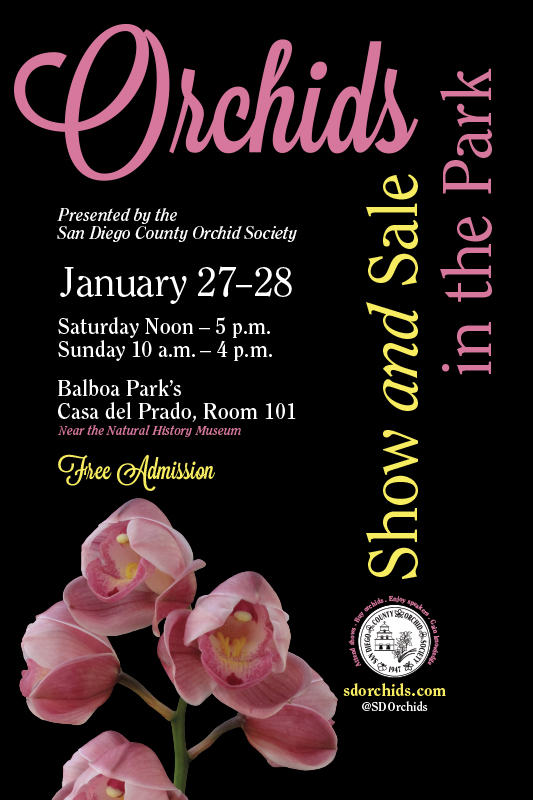 <b>2018 Winter Orchids In The Park<br> Show & Sale<BR>January 27-28, 2018<br></b>